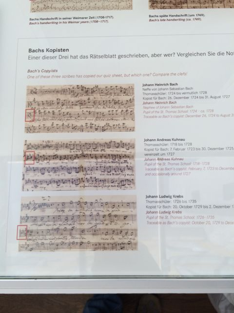 The manuscript styles some of Bach's student copyists in Leipzig— nephew Johann Heinrich Bach, Johann Kuhnau, and Johann Krebs.