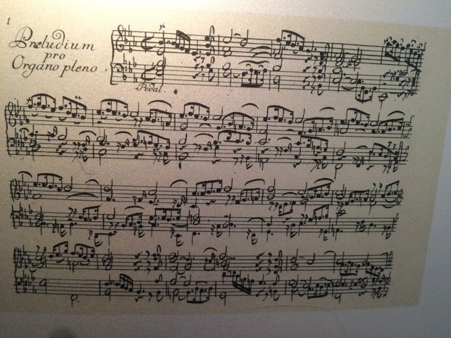 This was thrilling to see—a beautifully  engraved copy of the great St. Anne Prelude and Fugue for Organ in E flat major by J.S. Bach (one of the few pieces published in Bach's time). I know of no music more powerful. The Prelude and Fugue are bookend pieces for Bach's Clavier-Übung III, essentially his summation of the organ.