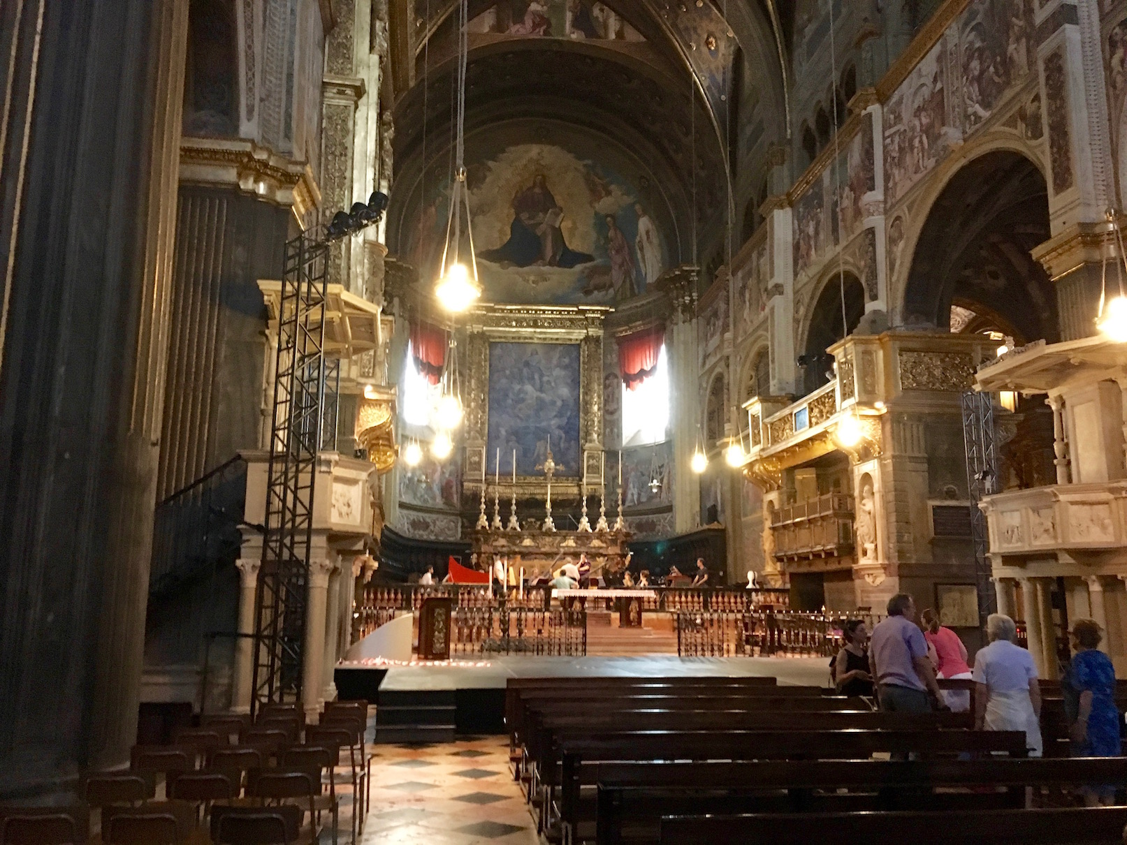 A magical moment in the Cremona cathedral where we heard a rehearsal of Monteverdi's music taking place.