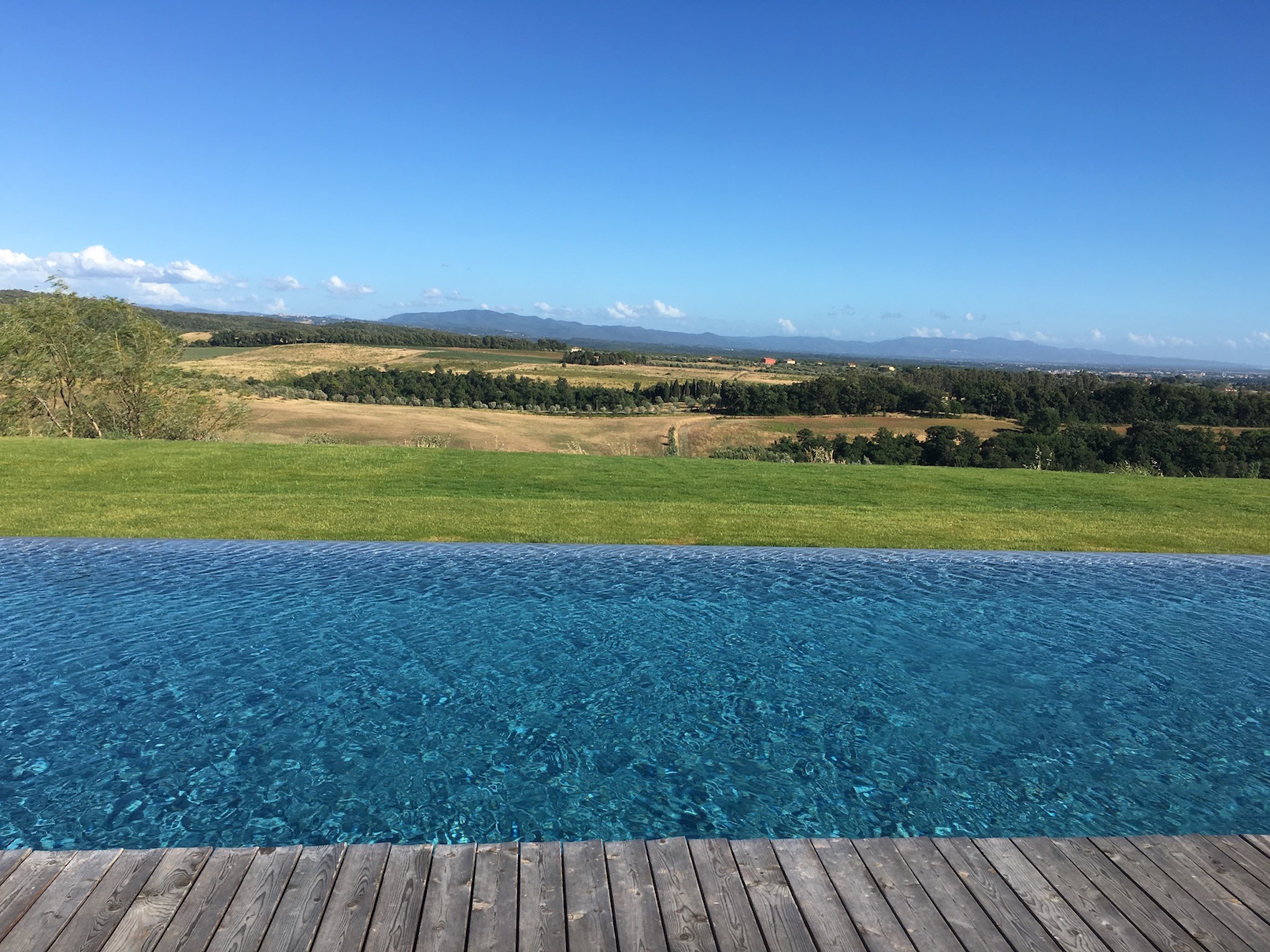 This is the paradisiacal infinity pool that is also part of the farm. I alternated days composing here on the farm with days of driving adventures through the Tuscan hillsides. But that's a tale for another blog!
