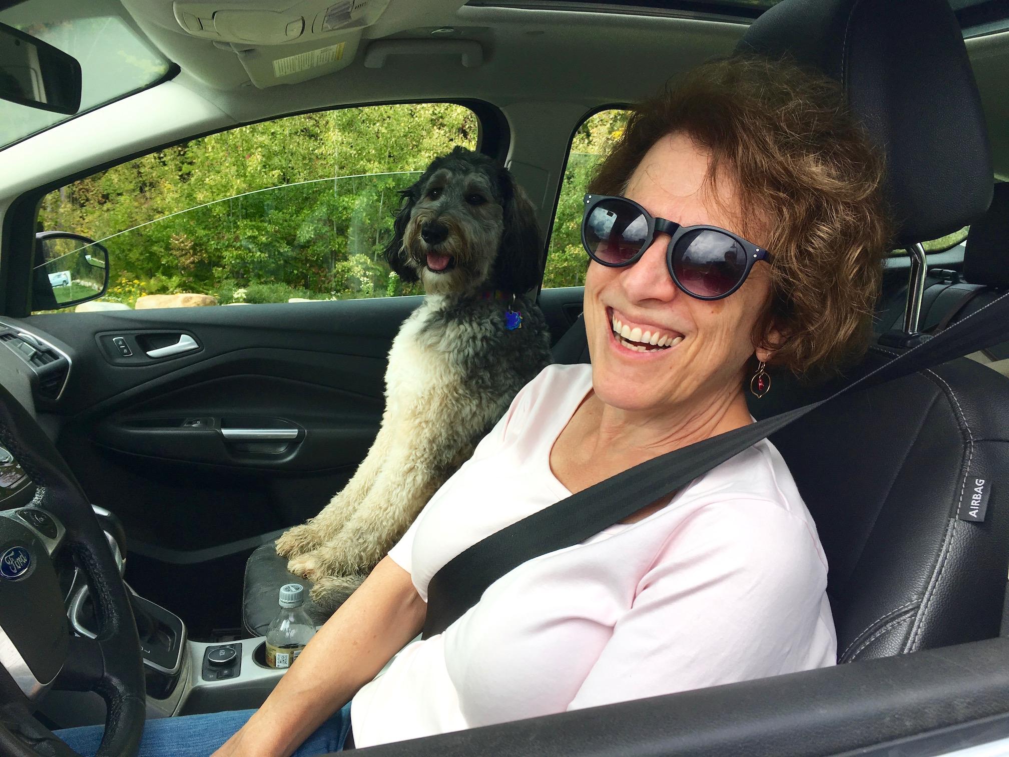 Deborah Sherr, Executive Director of Avaloch Farm (with her amazing dog Sylvie)