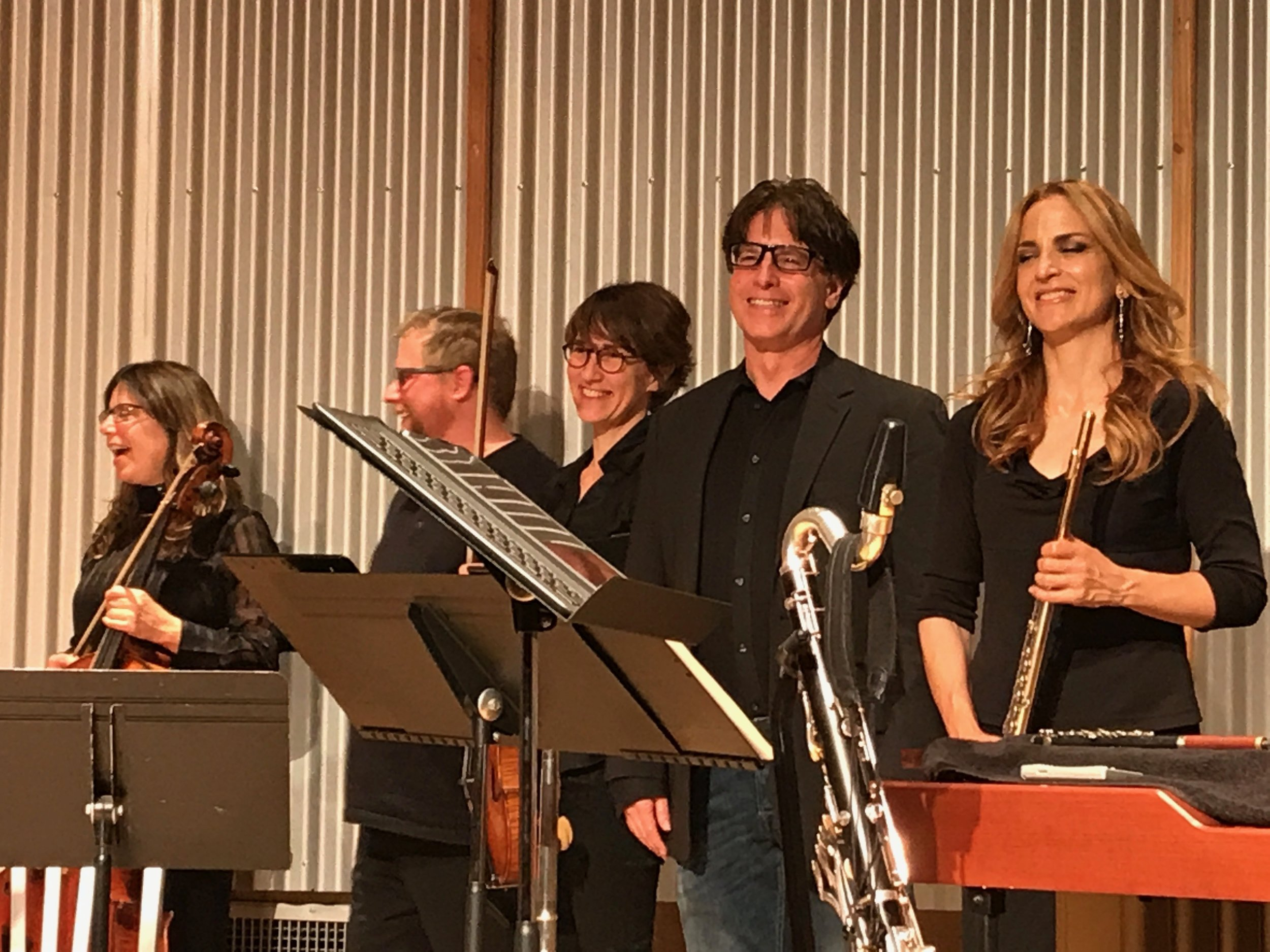 A delighted composer joining Brightwork newmusic on stage after they played Subterranean Dance.