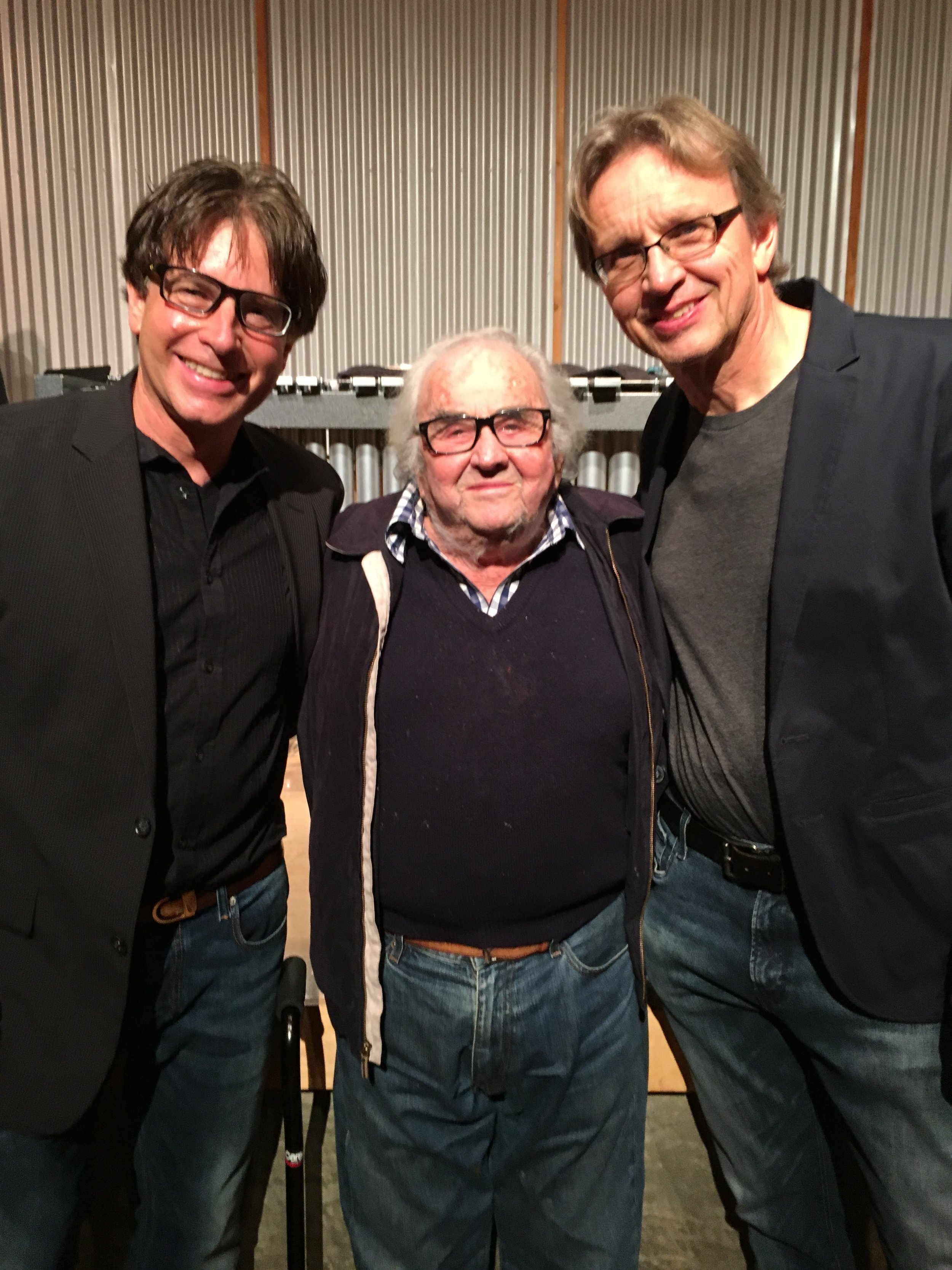 Three composers after the concert: Russell Steinberg, the great William Kraft, and Gernot Wolfgang