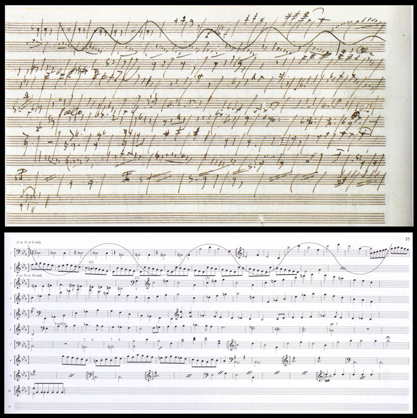 A page from Beethoven's sketchbook for the development of the first movement of the Eroica symphony
