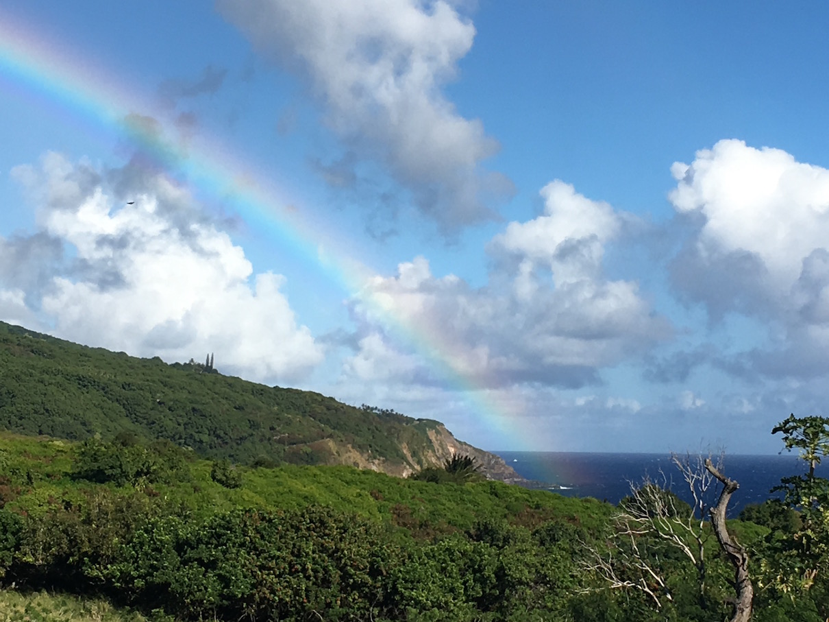 Maui Rainbow December 2018 - This rainbow just suddenly appeared as I drove past the southern tip of Maui past deserty Kaupo towards lush Kapahulu, its paint bucket arching over the mountains and dipping into the sea.