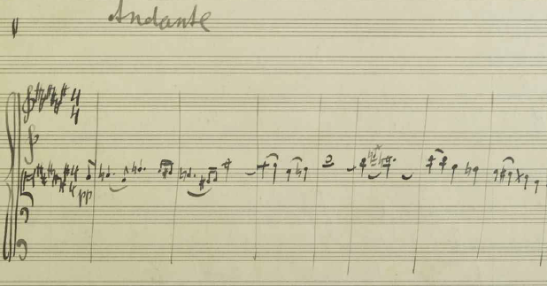 Mahler's manuscript from this score draft of the beginning of his 10th symphony