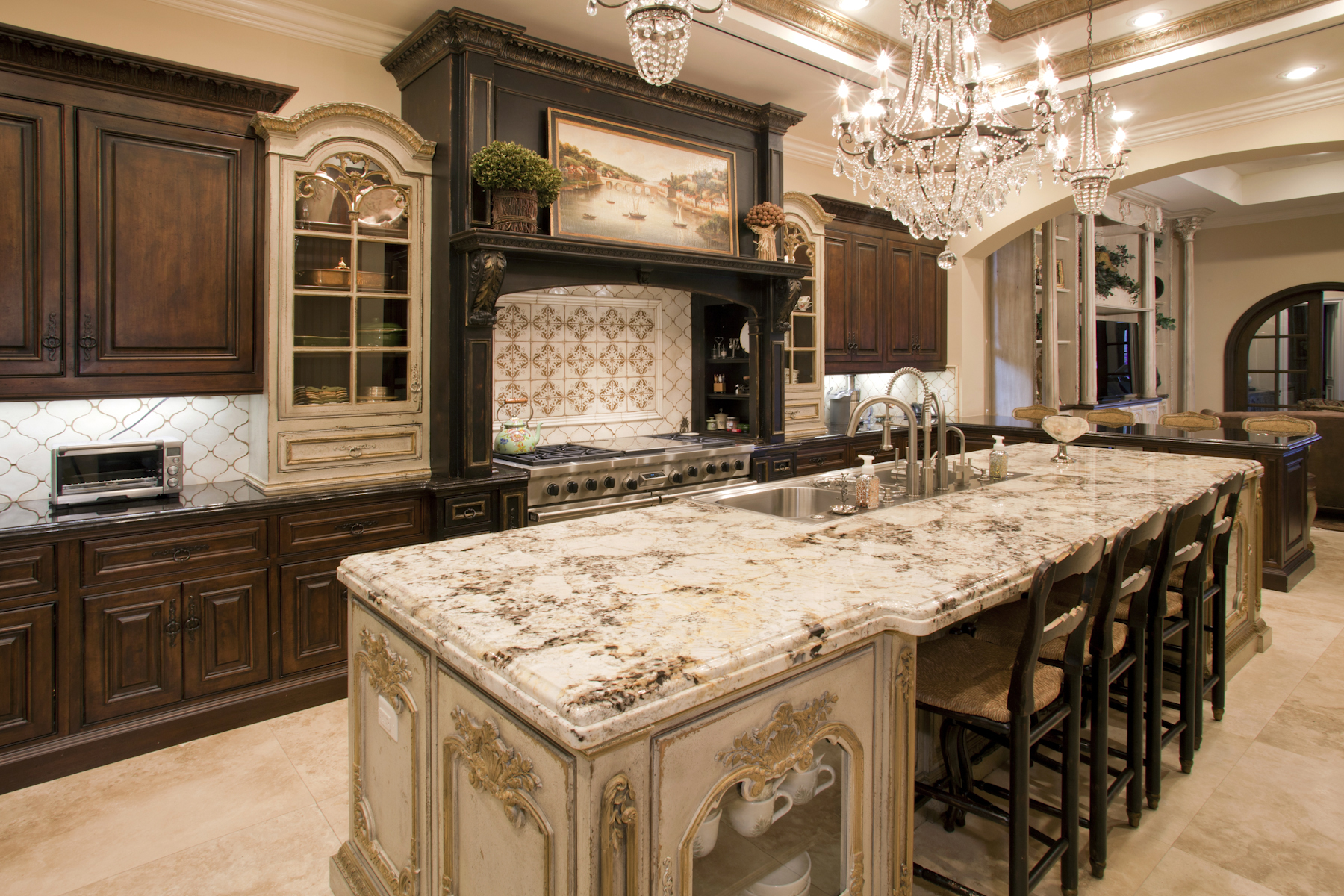Old world craftsmanship throughout this kitchen