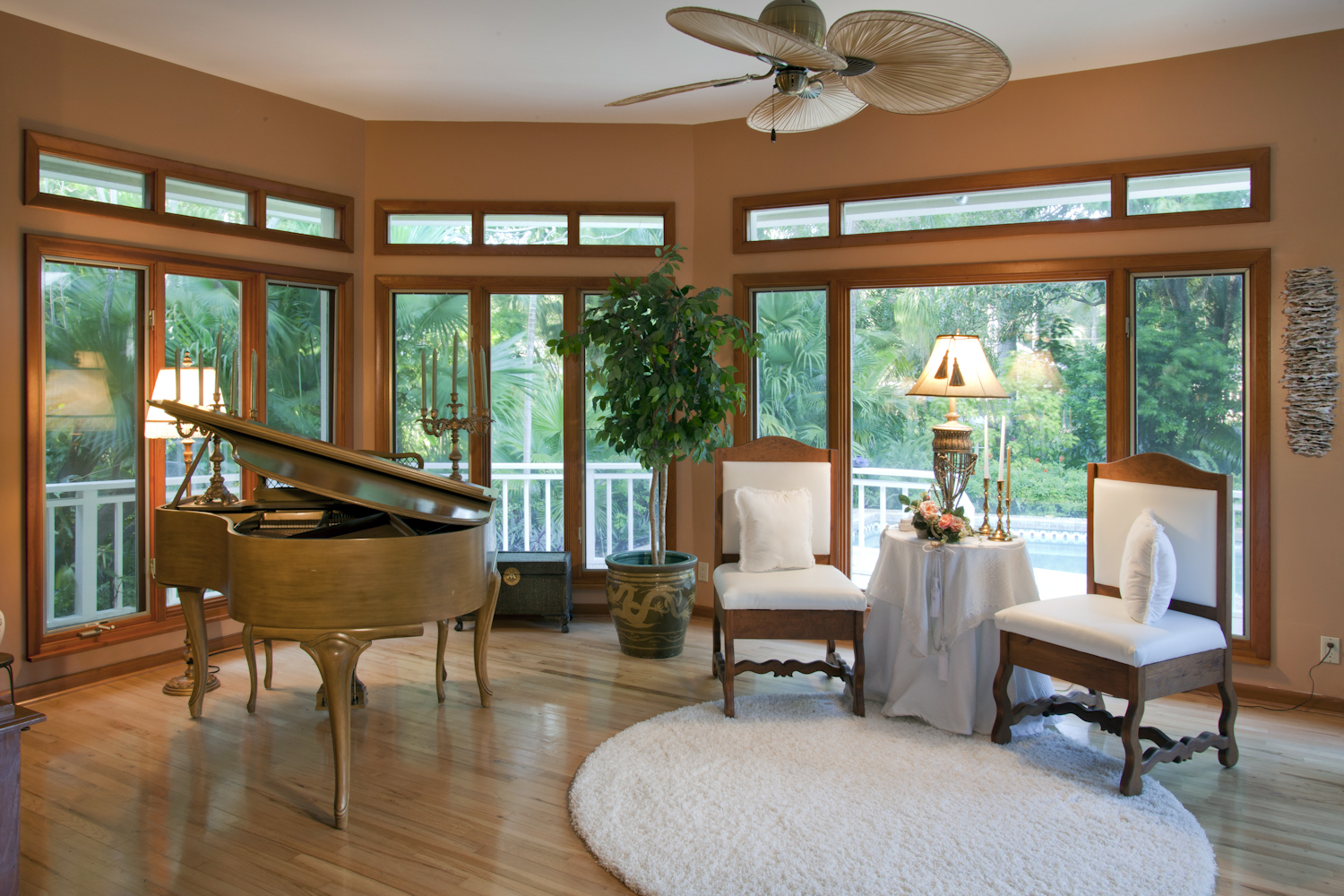 Interior family room with a beautiful garden view