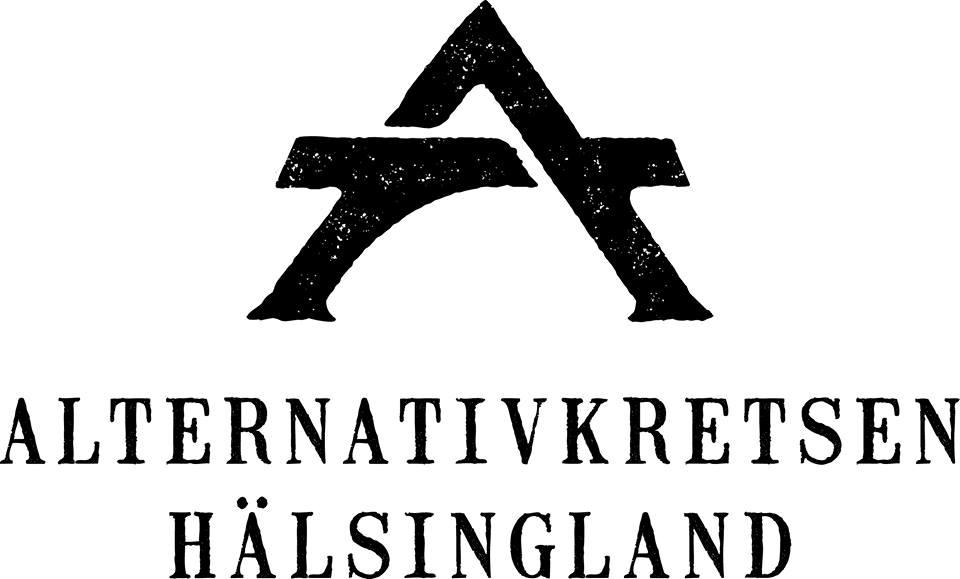 Alternativkretsens nyalogotyp, svartpå vitbakgrund