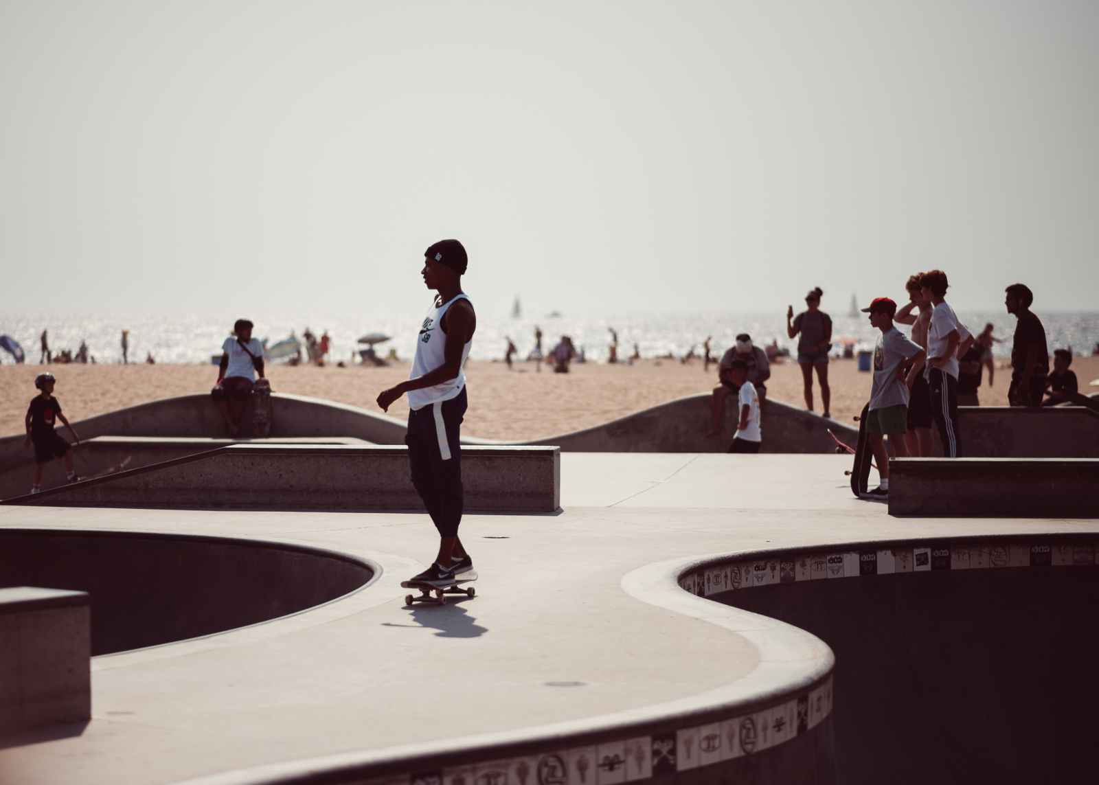 World famous skateboard park at Venice Beach, Ca