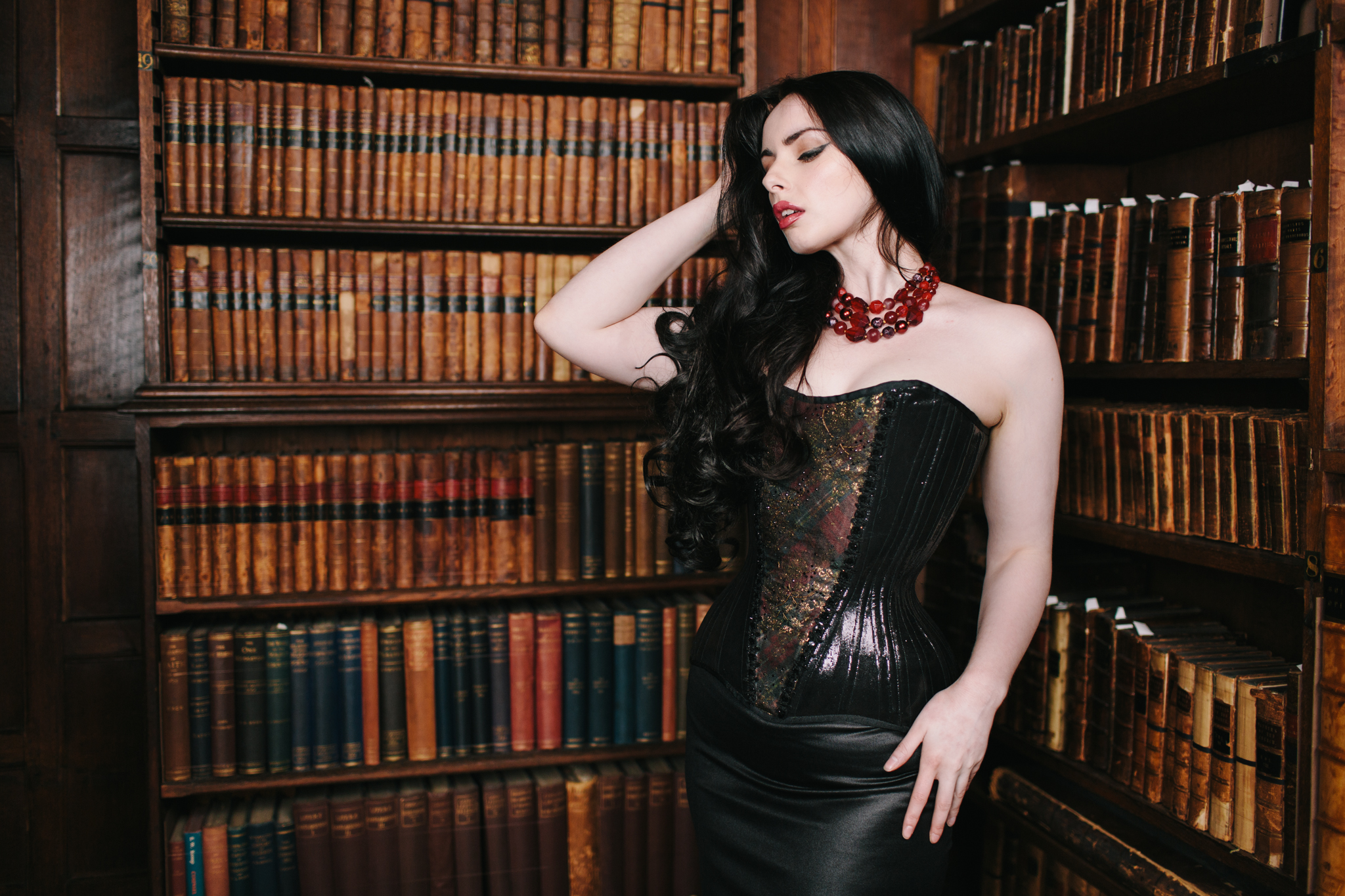 Crikey Aphrodite Scottish Gold corset worn by Liv Free and photographed by Chris Murray in the Library at Jesus College, Oxford
