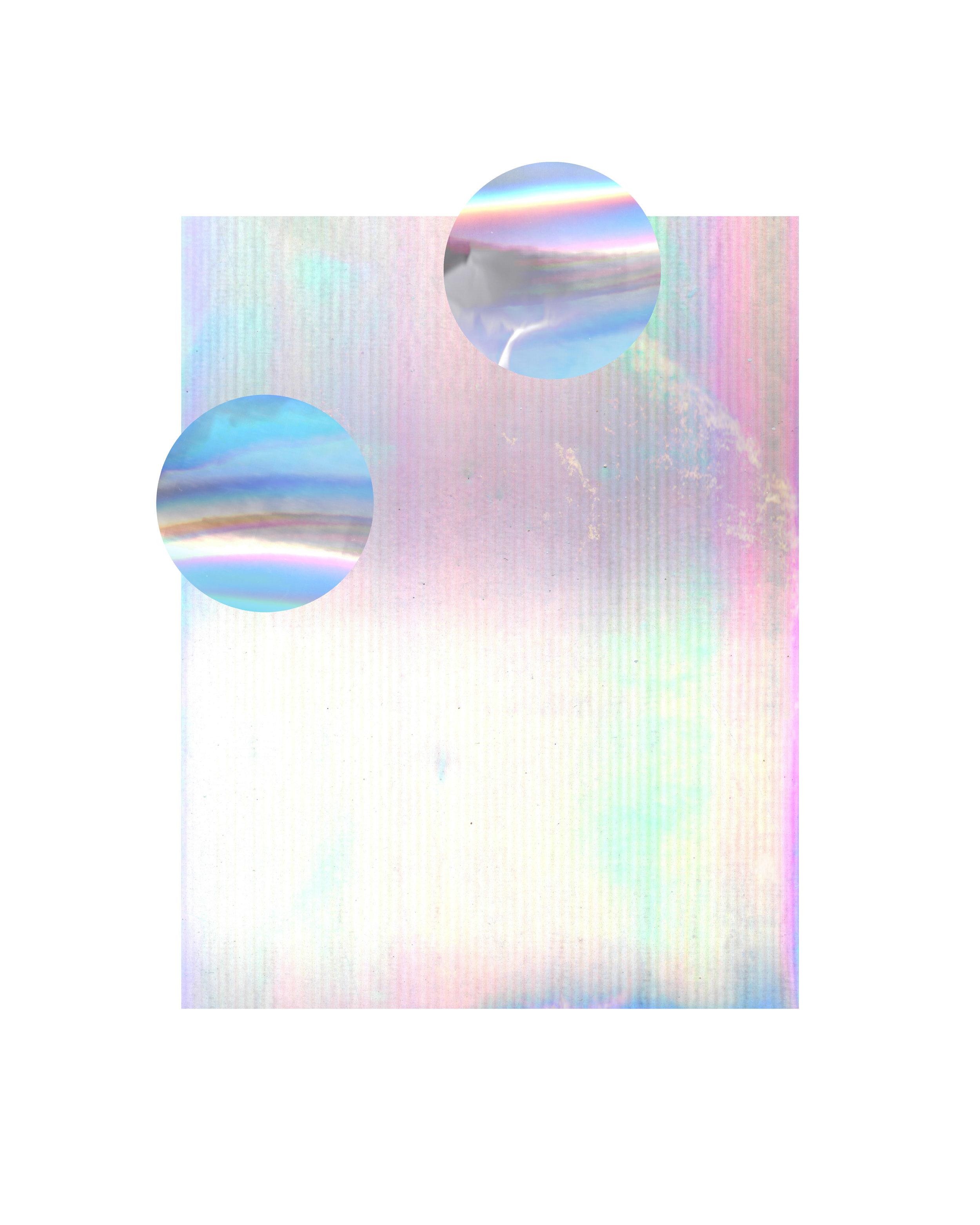 "glimmer 16""x20"" digital, 2019 iridescent foil, crumpled paper"
