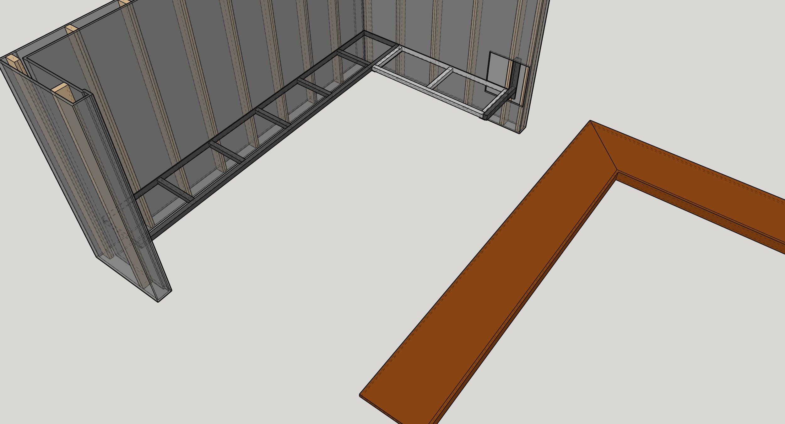 3D model of the floating bench showing steel support structure.