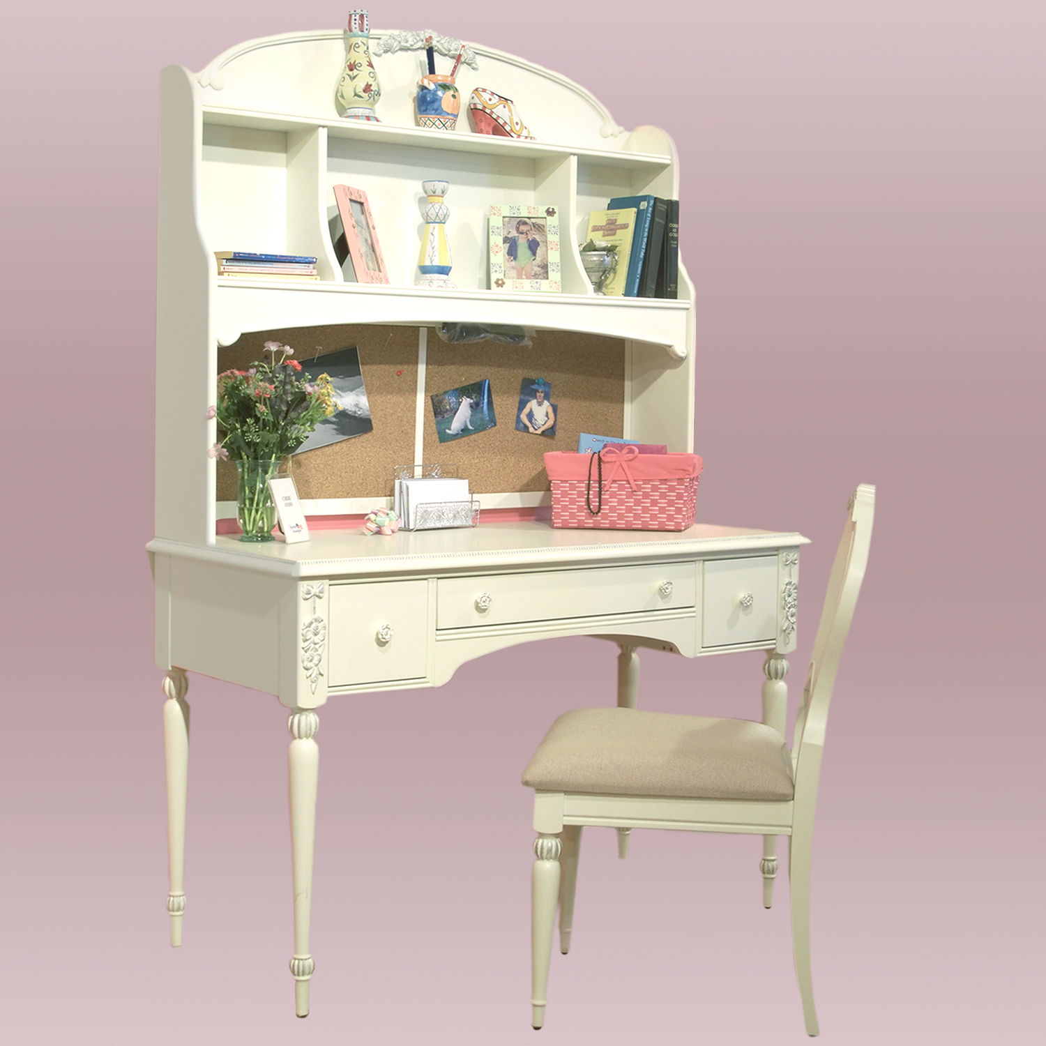 Desk, hutch and matching chair