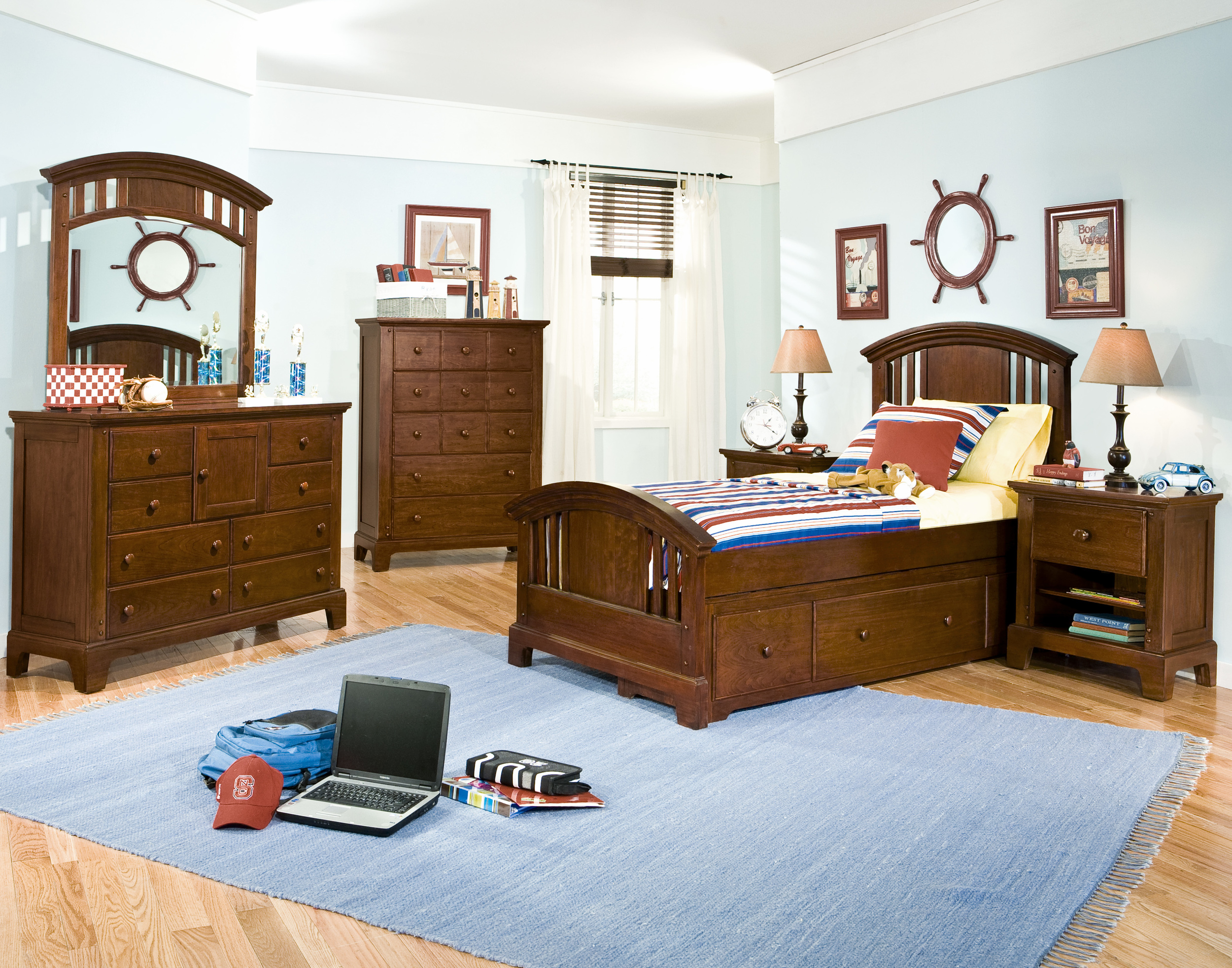 Room scene with captains twin bed