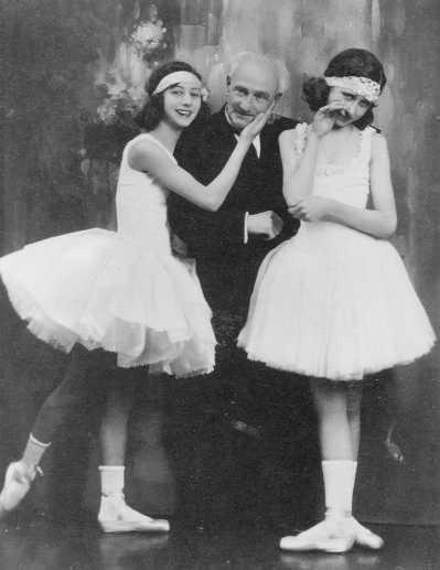 Cecchetti with two of his students.