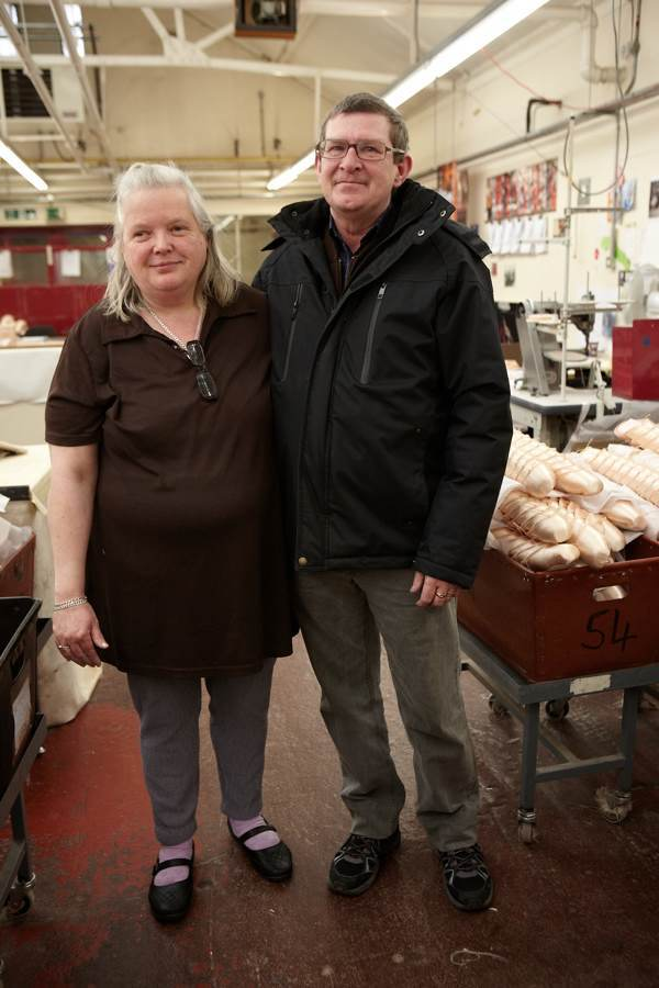 Sheila (Pointe Shoe Finisher) & Philip Goodman (Chargehand) met on their first day work at Freed, forty years ago, and have been together ever since.