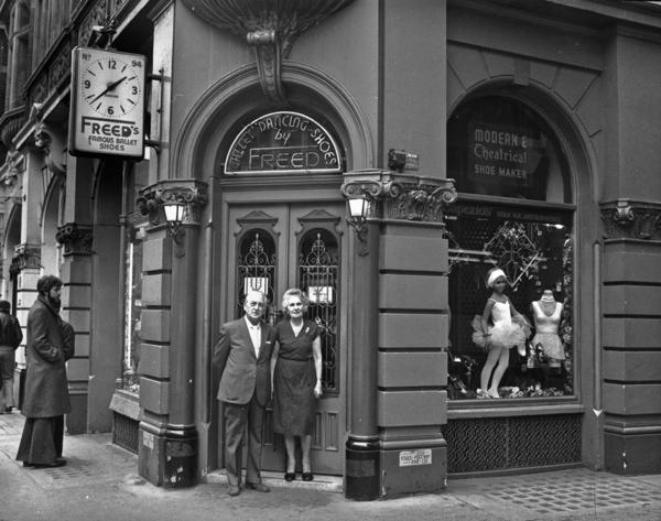 Frederick & Dora Freed outside their shop in St Martin's Lane.