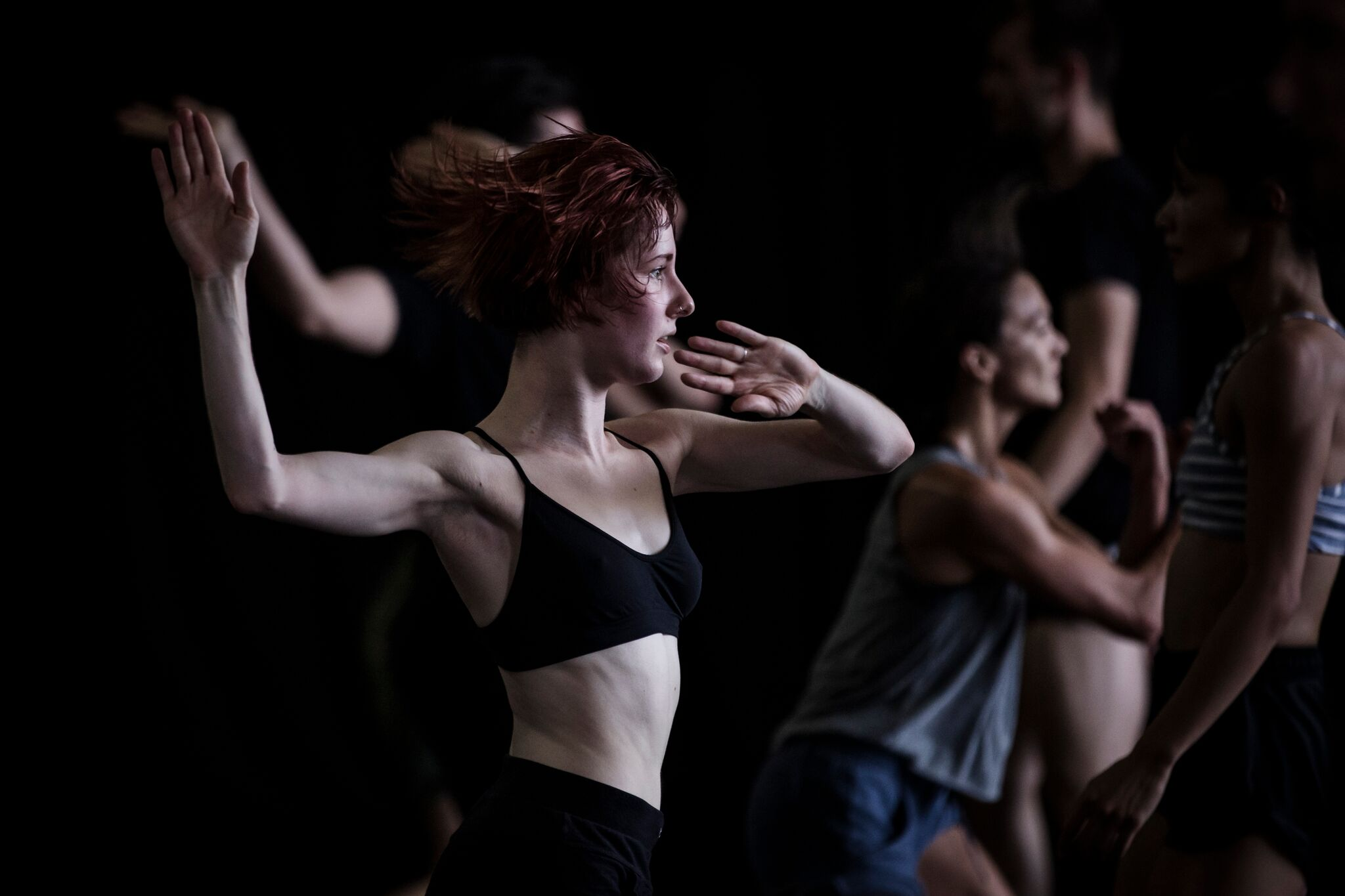 In rehearsal for Sydney Dance Company's Lux Tenebris. Photography: Peter Greig