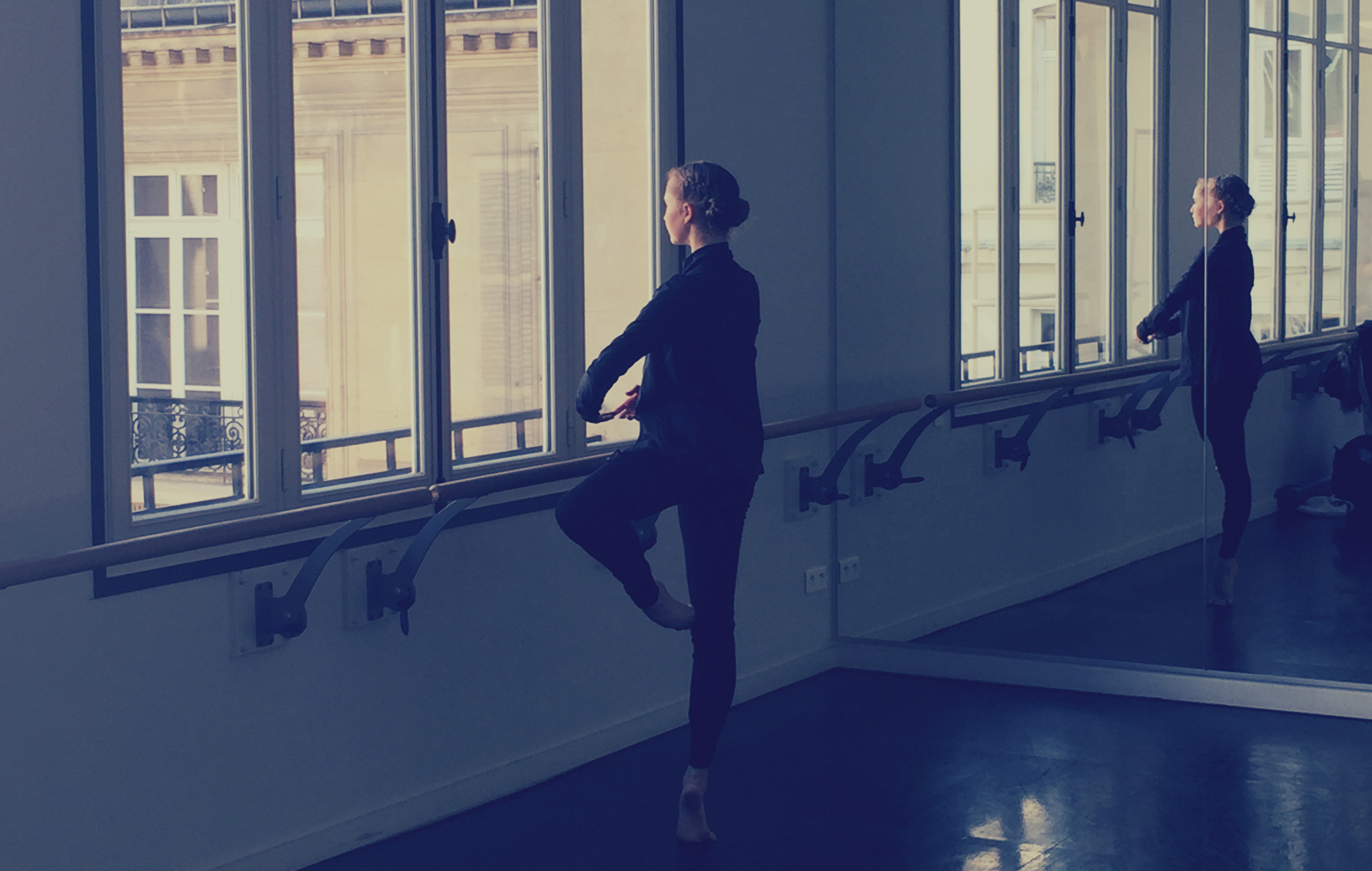 Ready for the day: Bianca warming up in the studio in preparation for filming