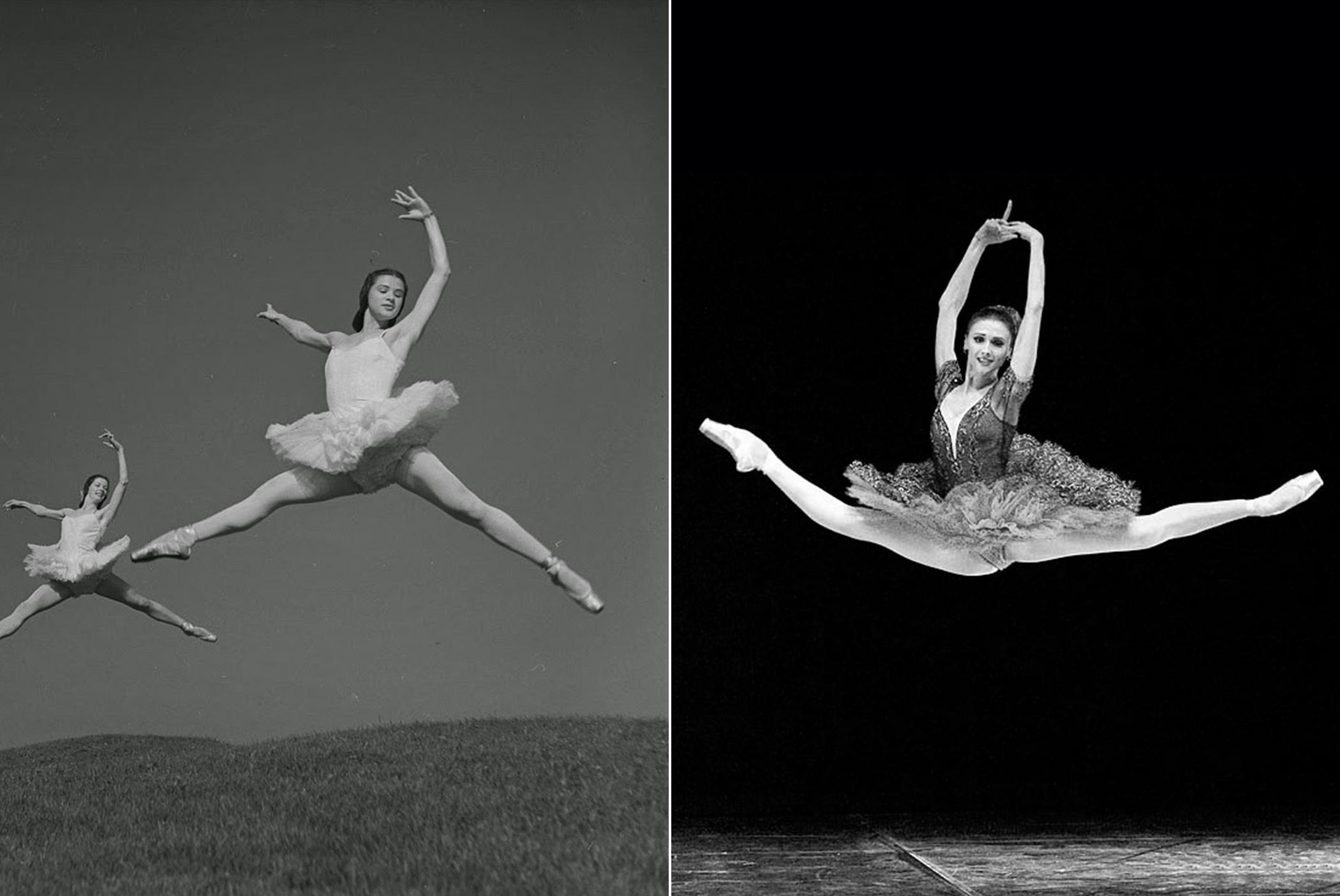 Jetés: Left, two ballerinas from the Boris Volkoff Ballet, Toronto, 1941. Right, Svetlana Zakharova, the modern ballerina