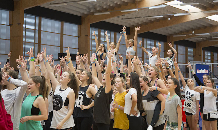 Lauren Seymour from The Dream Dance Company finishing her workshop with hands in the air!