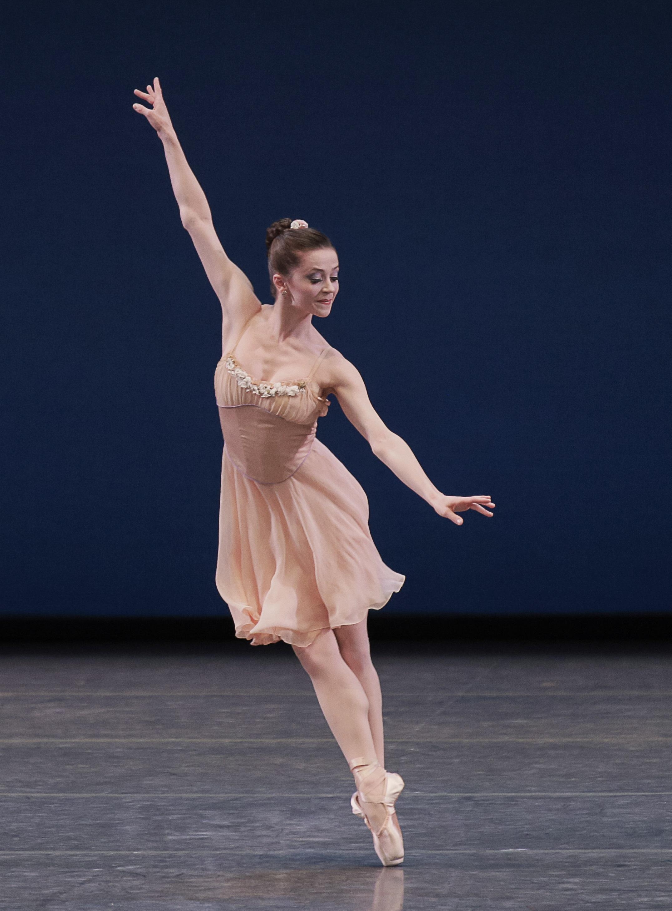 Megan Fairchild in George Balanchine's Tschaikovsky Pas de Deux. Photo credit Paul Kolnik