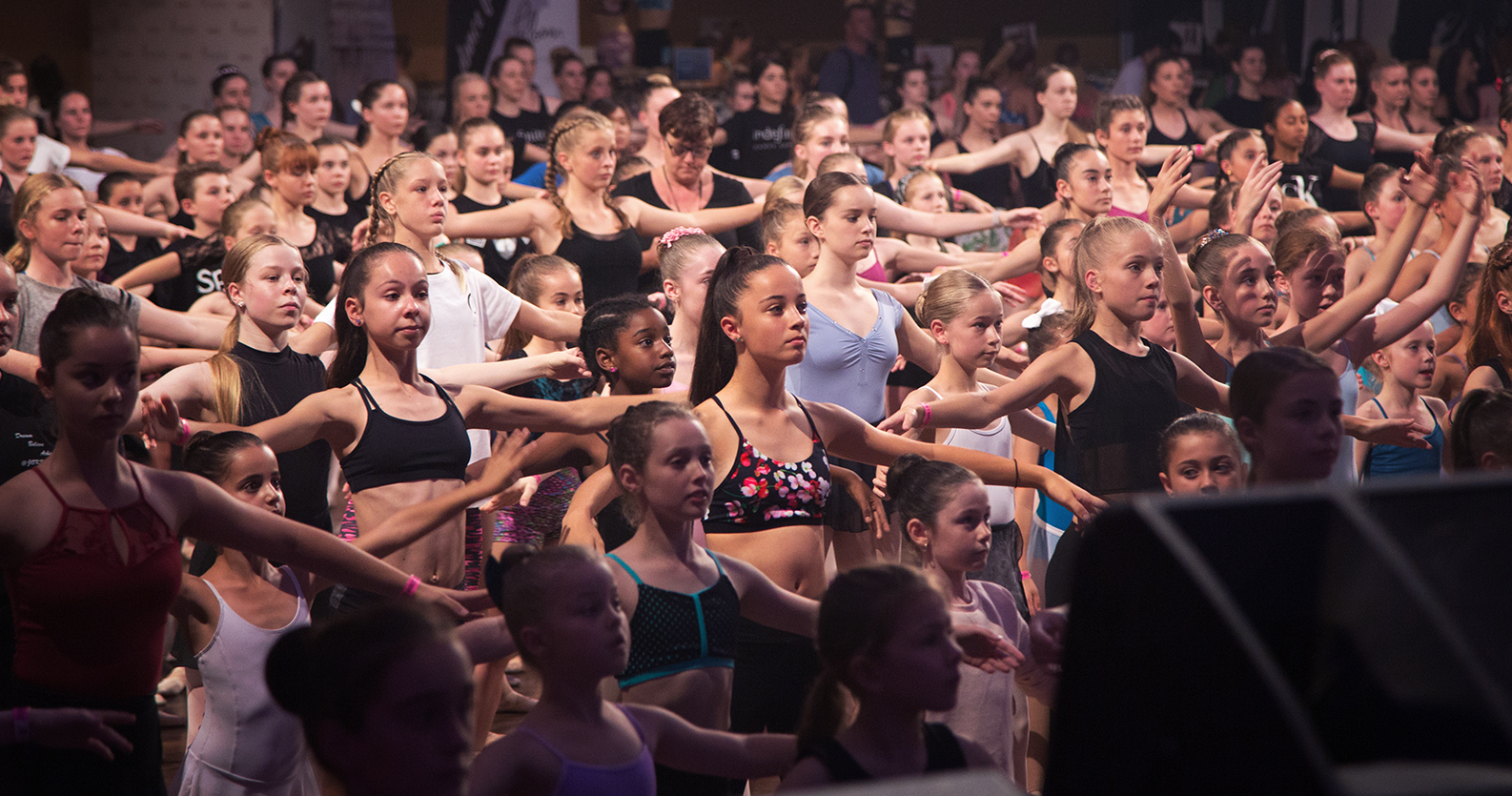 Centre: Ella McMillan concentrates on Lucinda Dunn's ballet class in her  Oriental Bloom  dancewear