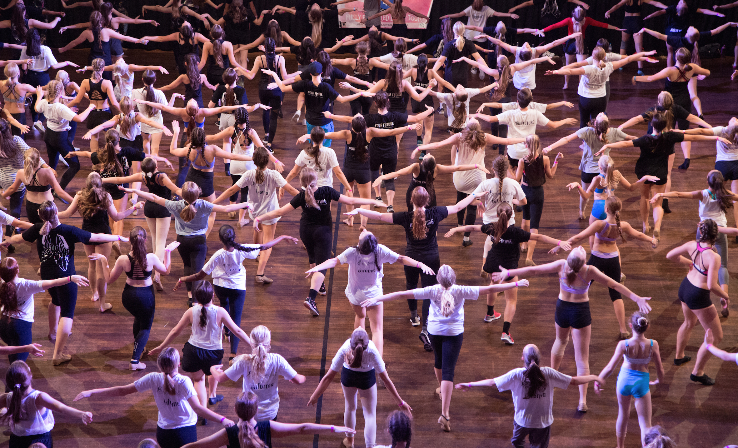 Caught in the moment: dancers marking through the choreography of a Musical Theatre routine on Sunday