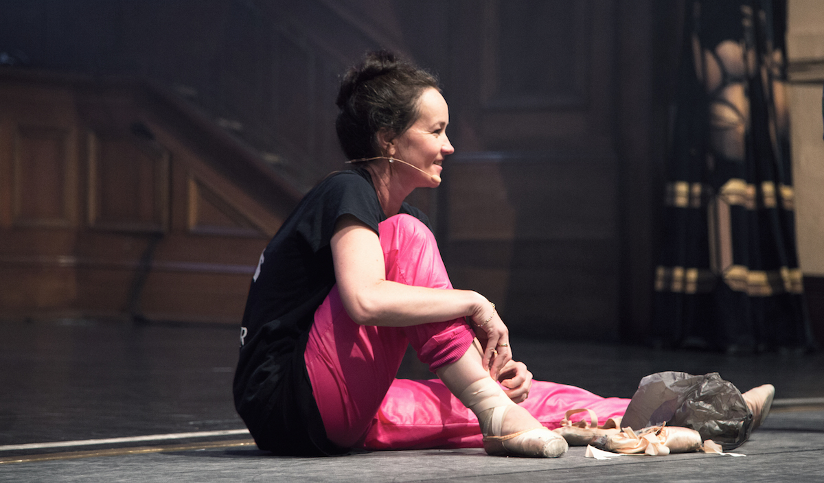 Lucinda putting on her pointe shoes just before dancers broke the World Record for the greatest number of ballet dancers on pointe consecutively at VDF 2017.