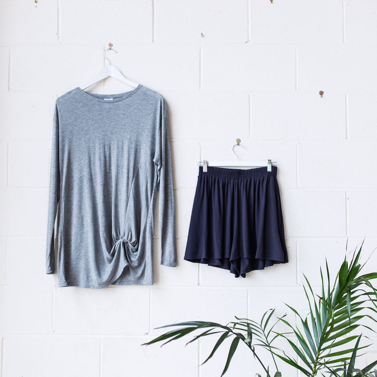 Aesthetics: The Aubrey Knot Long Sleeve Tee in Grey Marle + The Sadie Volume Shorts in Cosmic
