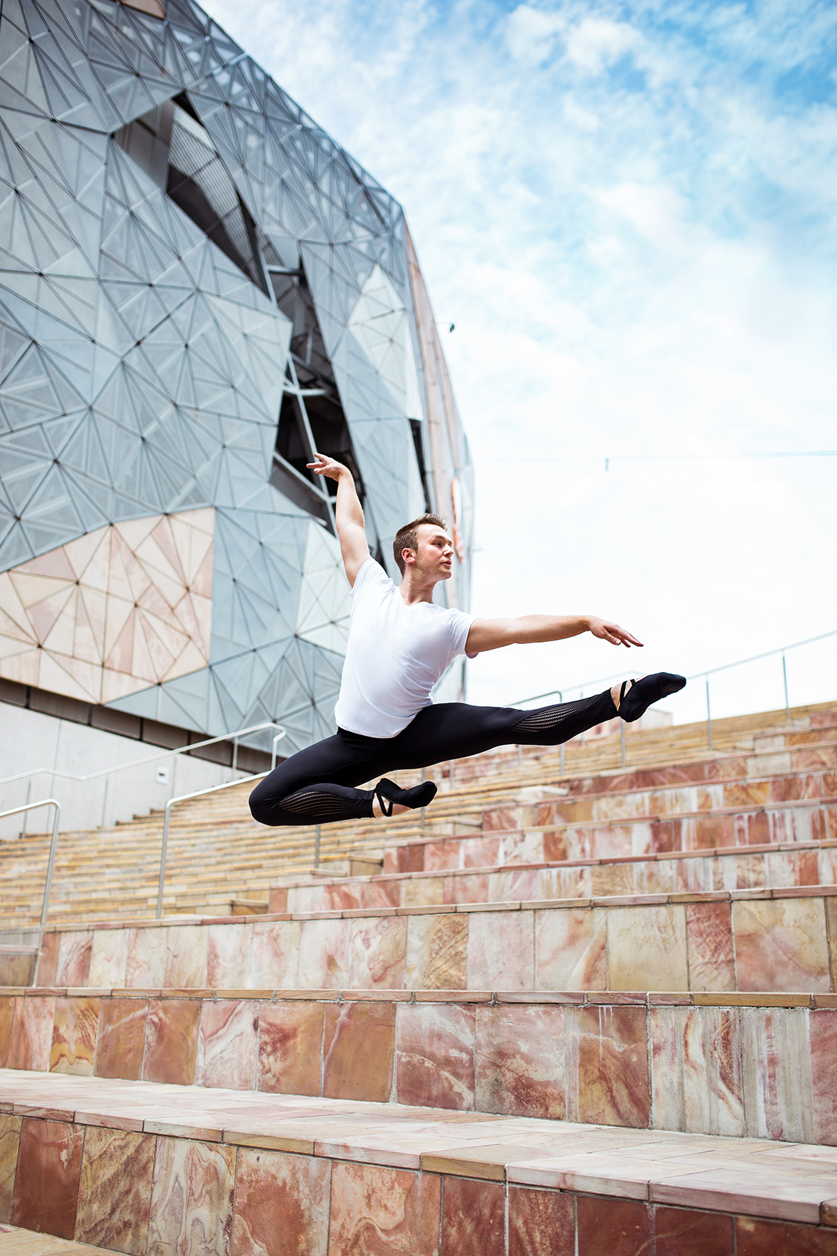 Jake wears the  Men's T  in White with the Men's Pro Ballet Legging - coming soon!