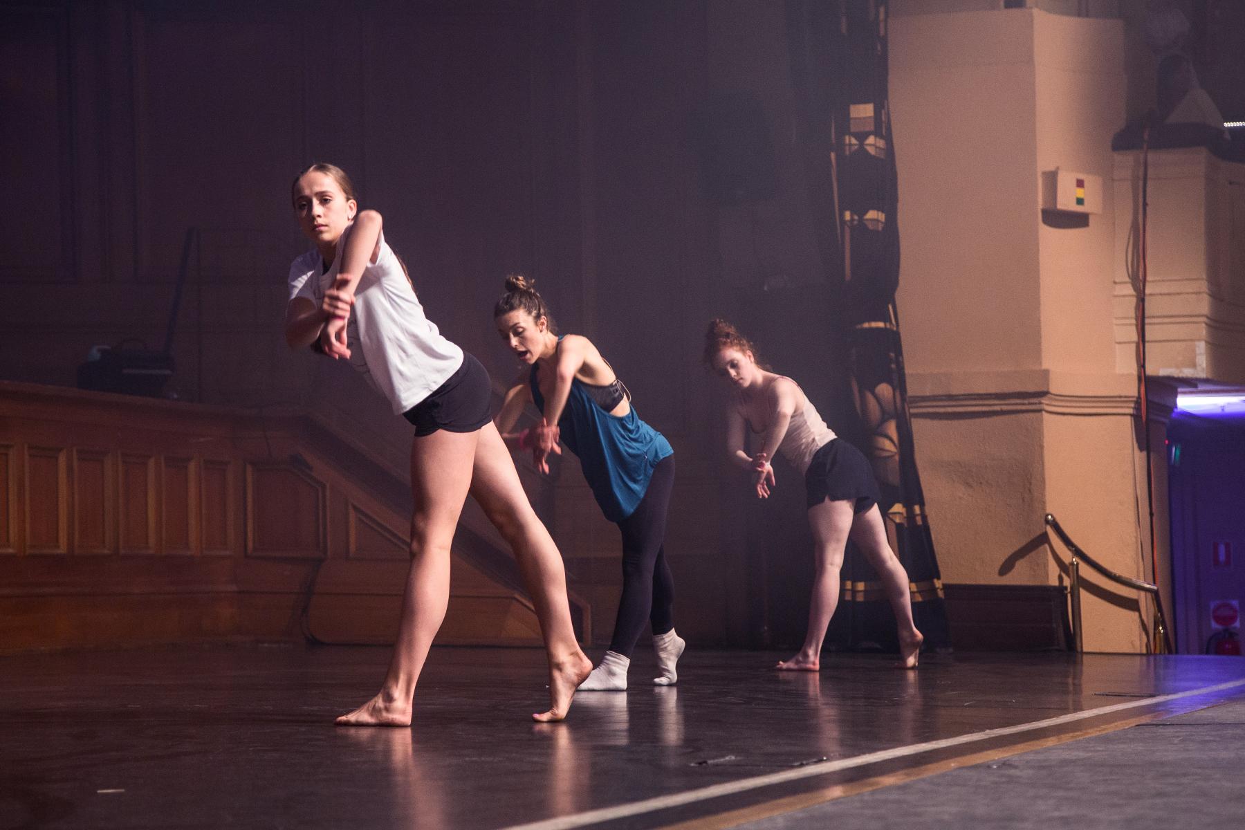 Tate McRae, Kathryn McCormick and Sarah Frangenberg teaching onstage at VDF 2017