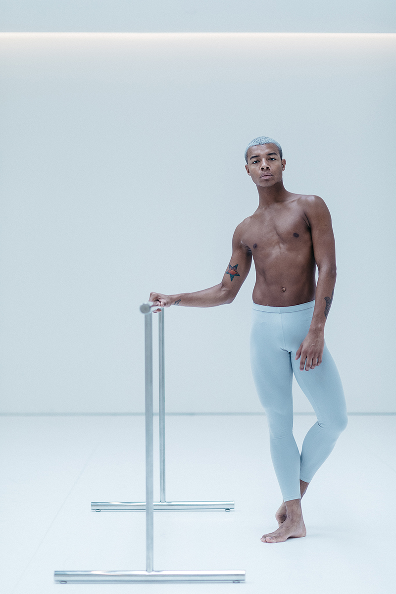 Louis wears the  Men's Legging  in Silver