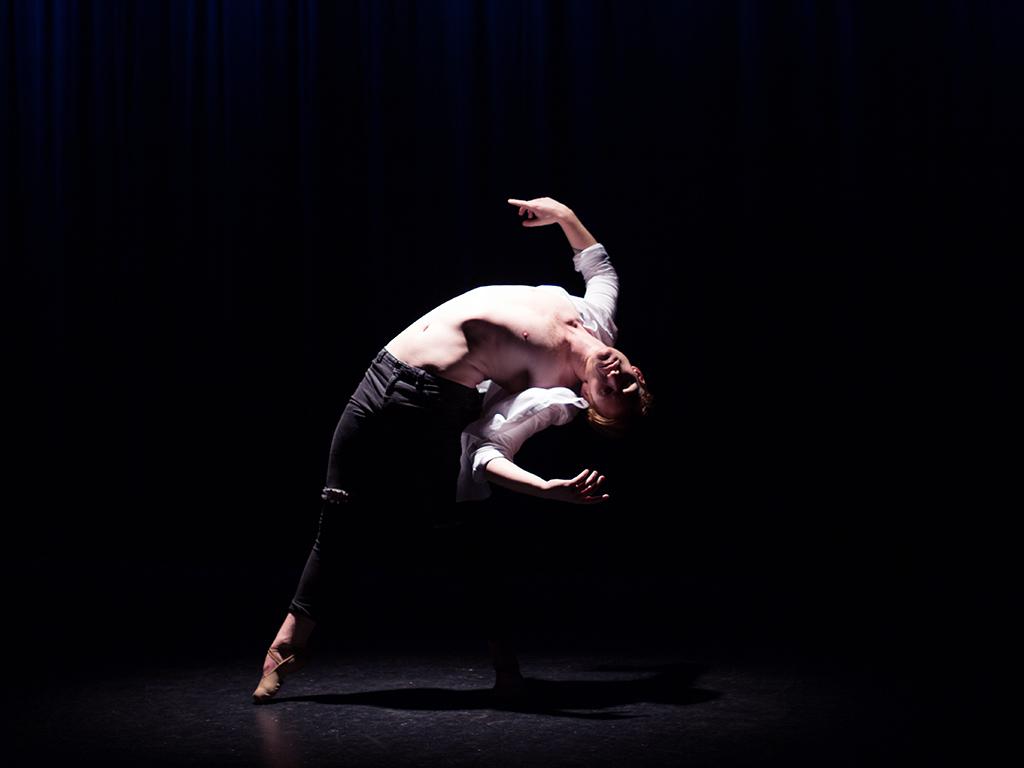 Jayden Hicks in performance mode wearing Energetiks  Tech Fit Ballet Shoes
