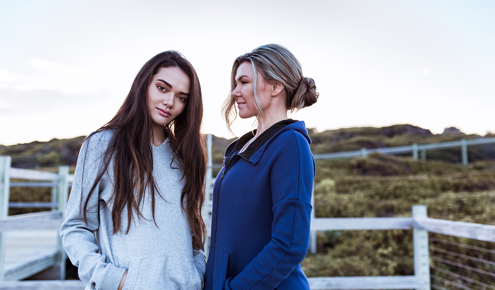 Mother and Daughter: Portia and Sophie on the beach at sunrise, during the campaign shoot for Paradise.