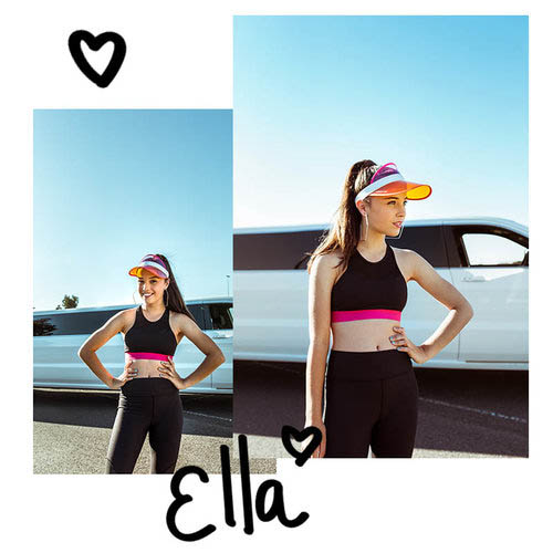 Ella wears the  Chanel Crop  and  Aria Legging