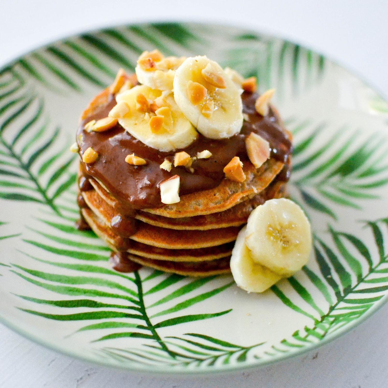 Banana pancakes with Peanut Butter Chocolate Sauce