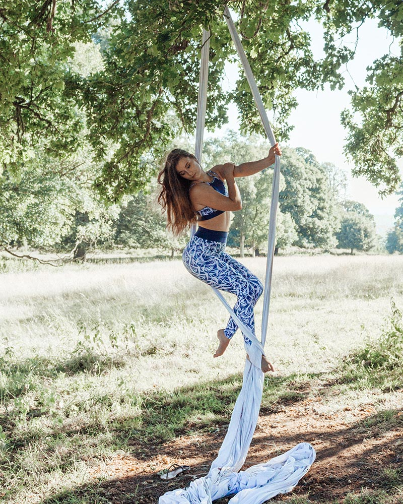 Siobhan wears the  Margot Crop  and  Billie Legging  from the  Paradise Collection