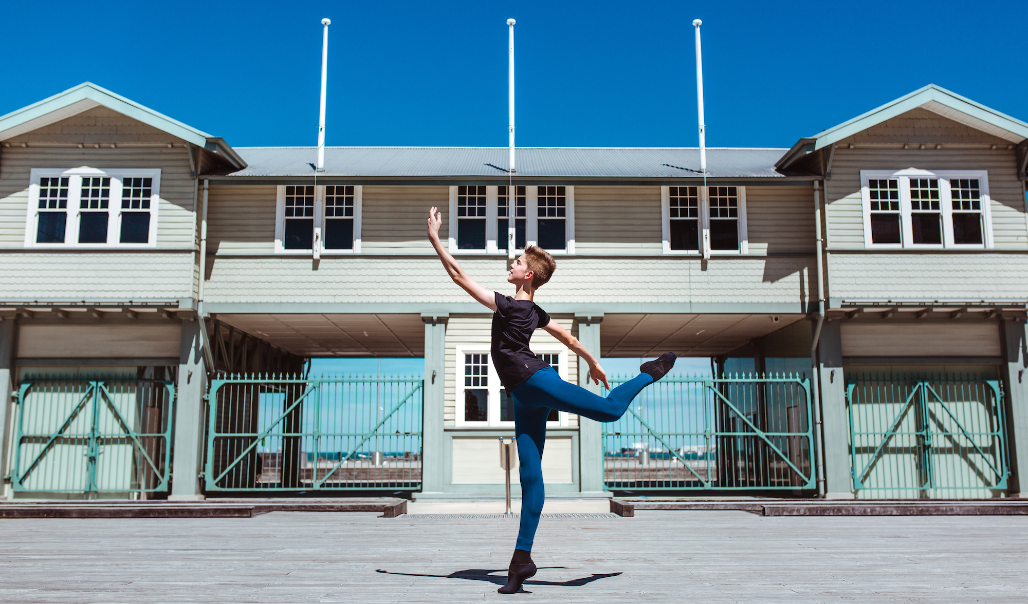 Tom wears Energetiks  Men's T , Diesel  Oakley Leggings  and  Tech Fit  ballet shoe