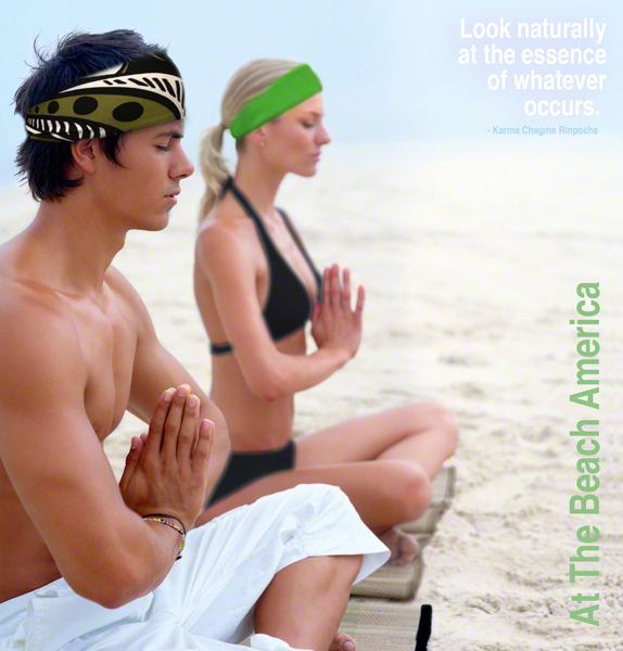 Yoga Couple doing yoga with Headbands on