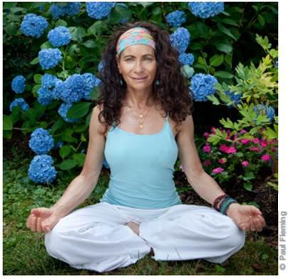 Anya Danielle Castellano Yoga Guru wearing vintage latina headband At The Beach America
