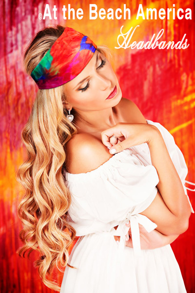 At the Beach America Headbands has the largest selection including many Tie Dye wide stretch fabric Headbands
