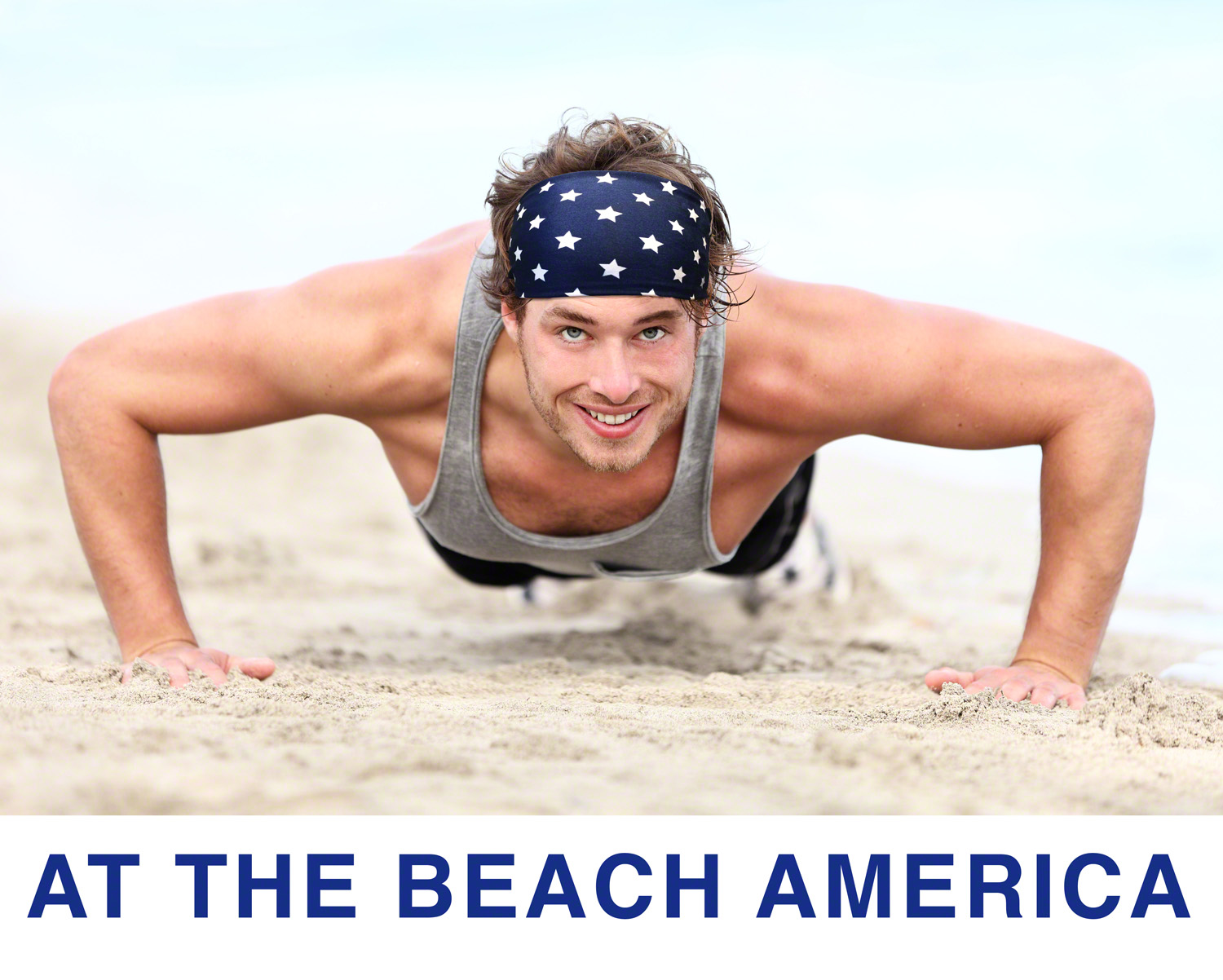 Men's  Running  At The Beach America Workout Headband - can also use as Sweatband for its superior Absorption .