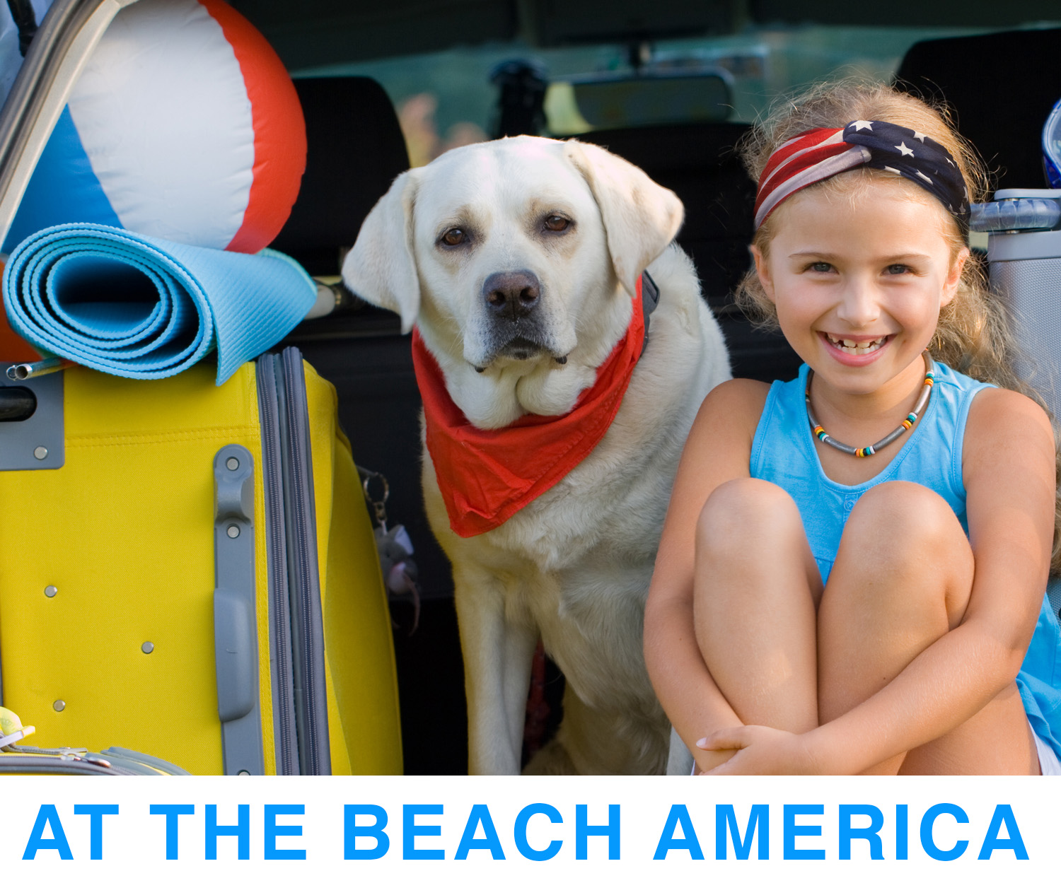 With At The Beach America Headbands you can create Turban style Headband as seen on Beach bound little girl with her English Yellow Labrador