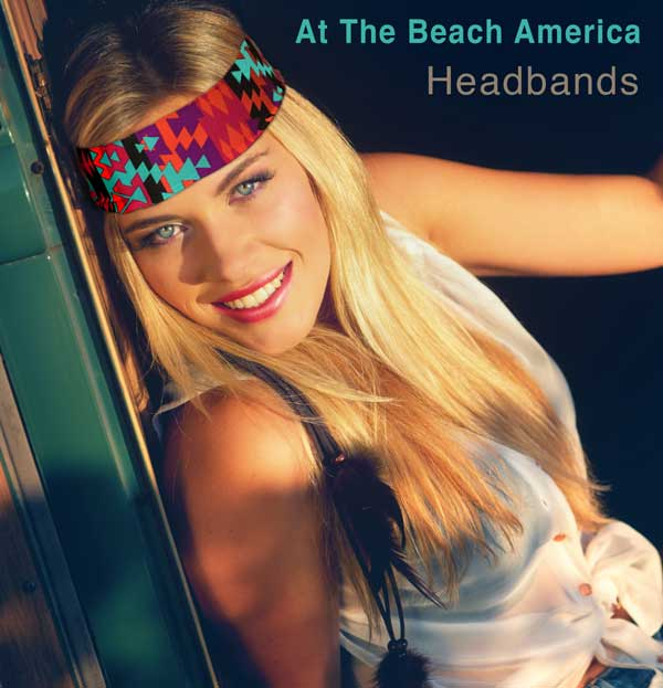 Boho At The Beach America Headband on blonde girl