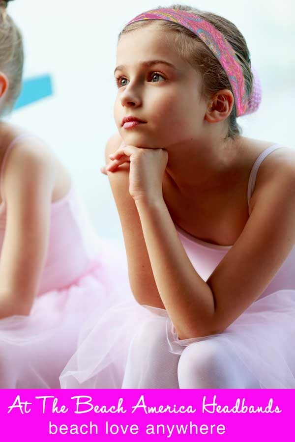 Little Ballerina wearing her At The Beach America Headband during Ballet class.