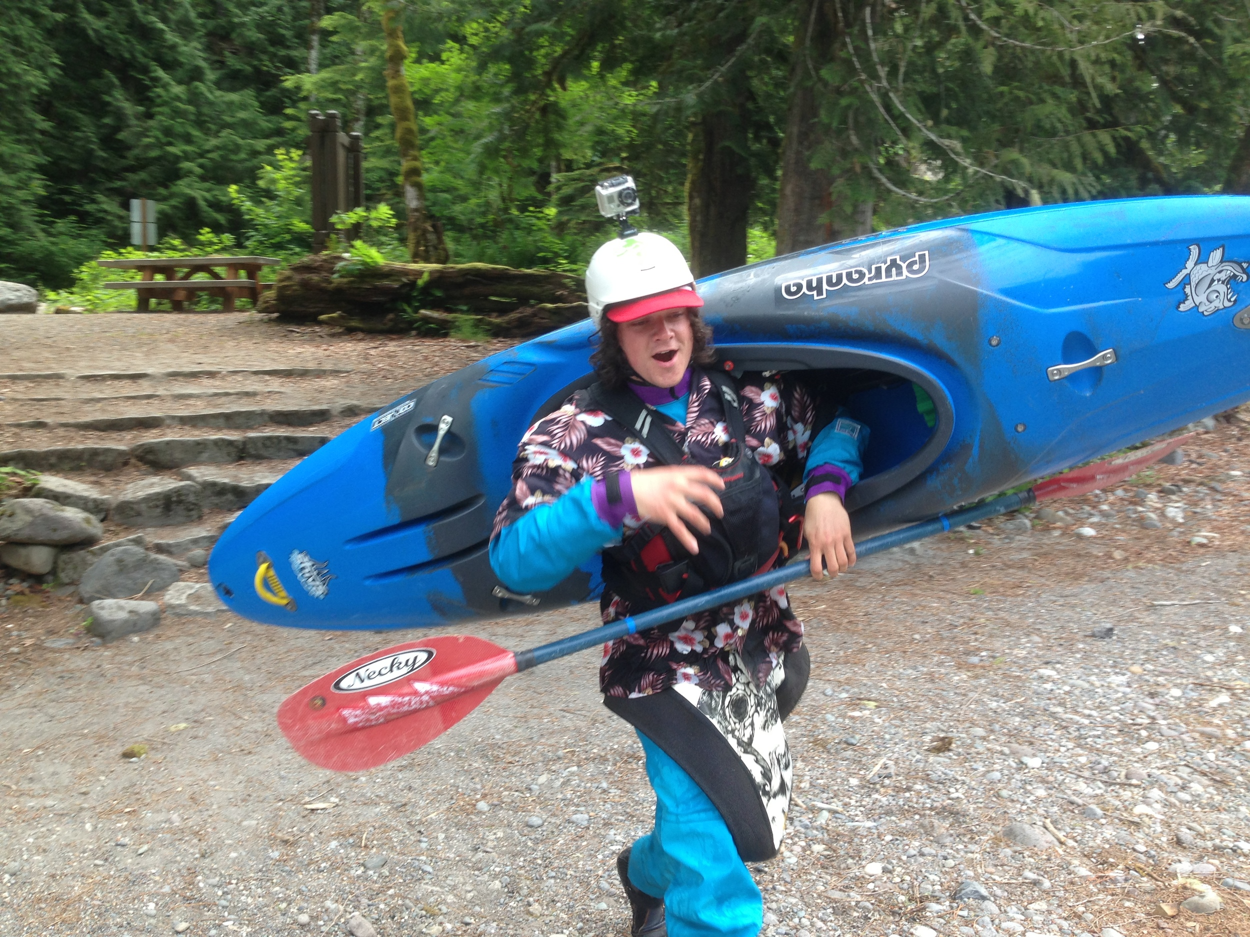 Guide Josh Larsen with a new Pyranha Shiva kayak (selected as our safety kayak)
