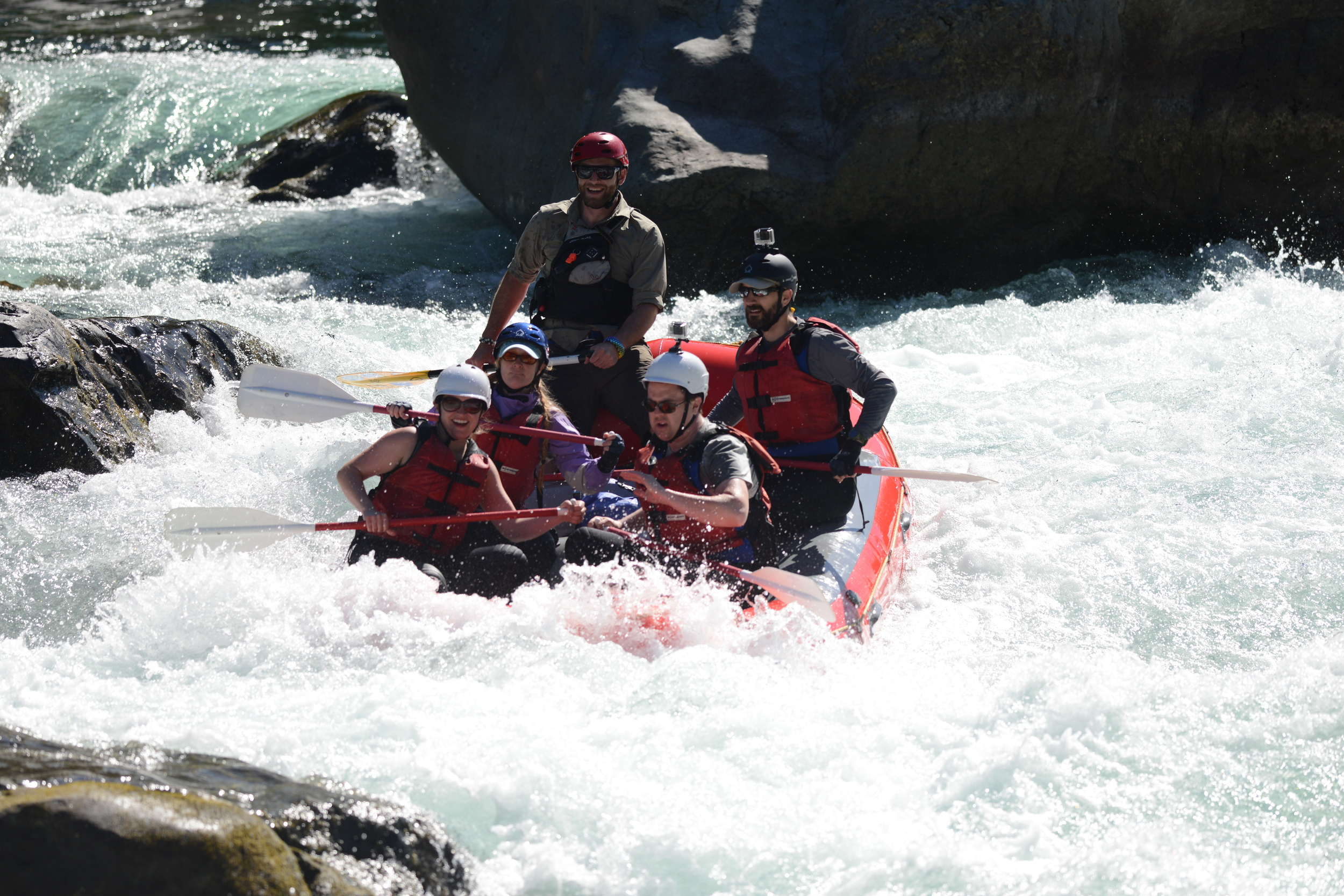 Brandon Steele (lead guide) navigating Boulder Drop successfully at very low water. note: skykomish river.