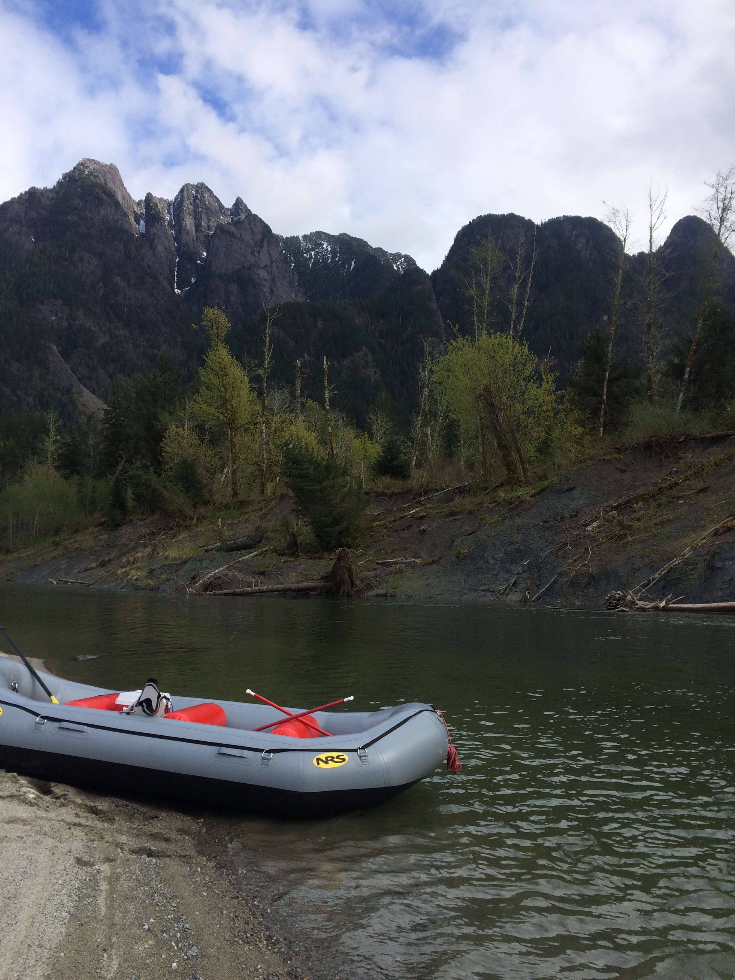 """This picture is from the """"upper"""" section of river on the Snoqualmie, in the Forest Service district above our whitewater section. The guides enjoyed the slow cruise and scenery, but looked ahead to see what the river had to offer in terms of excitement."""